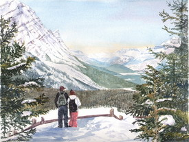 View from Bow Summit, Icefield Parkway, Canada, watercolour by J Horn